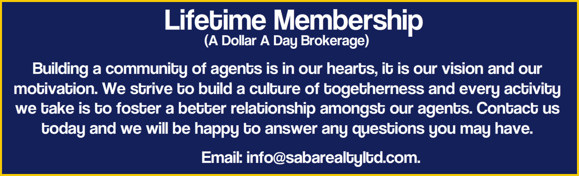 Saba Realty Lifetime Mebership no monthly desk fees brokerage